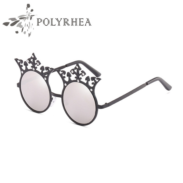 Luxury Designer Sunglasses Diamond Crown Decoration Vintage Women Italy Brand Sun Glasses Built-In Circular Lens Top Quality