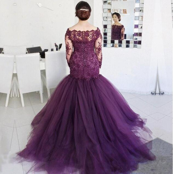 Grape Purple Mermaid Mother Of The Bride Dresses Lace Sheer Long Sleeves Plus Size Mother 's Dress Tulle Sweep Train Prom Evening Gowns