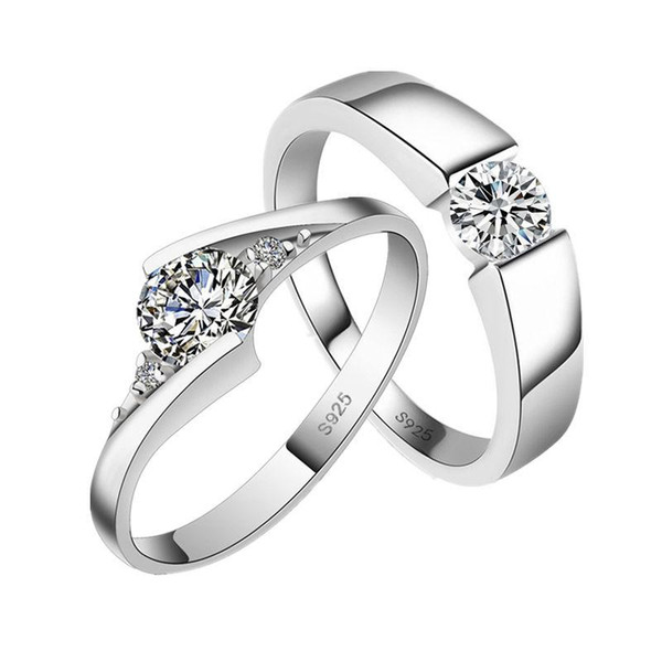 Wholesale- Never Fade Couple Rings 2017 New Fashion Silver Color Jewelry Austrian Crystal Cub Zircon Men Wedding Ring For Women
