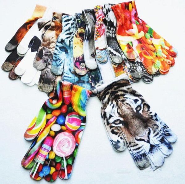 Kids 3D Printed knitted gloves Spring Warm Children Boys Girls Cute Animal Vivid Face cartoon Touch Screen Gloves FFA616