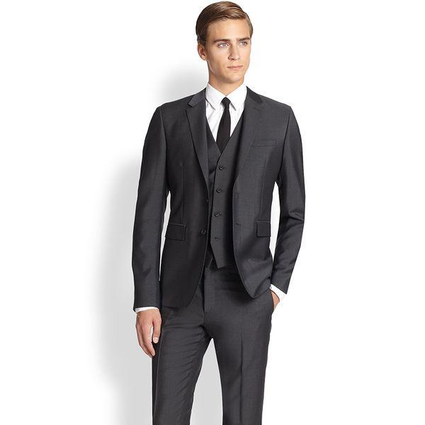 2018 Men Suits Black Notched Lapel Business Wedding Suits Custom Made Tuxedos Formal Blazer Slim Fit 3Piece Prom Evening Dress Best Man
