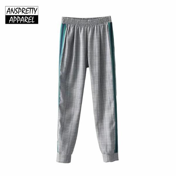 Anspretty Vestuário elástico na cintura xadrez calças lápis mulheres houndstooth emendado calças casuais streetwear