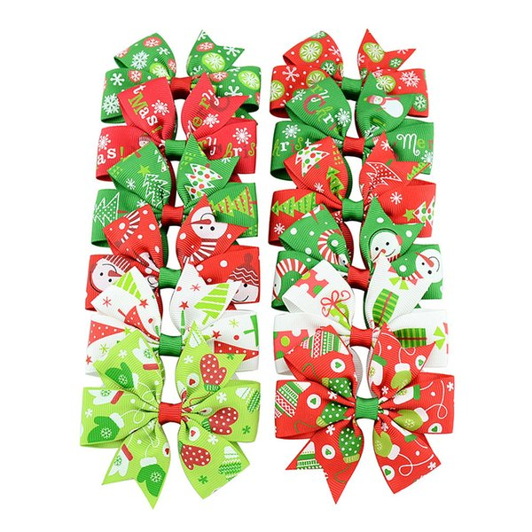 Arcos del pelo del bebé del arco de la cinta de Grosgrain de la Navidad Arcos con la nieve del clip pinzas de pelo de la muchacha del bebé accesorios del Pin del pelo de Navidad 664