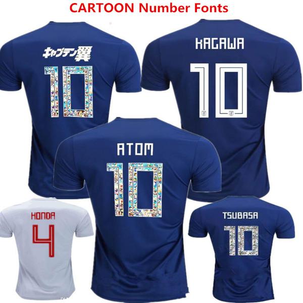 Soccer Jersey Japan Home Blue Football Shirts ATOM 10 Cartoon Number Japan  2018 World Cup TSUBASA OKAZAKI KAGAWA HASEBE NAGATOMO Uniforms cef816027
