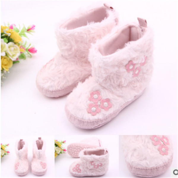 Super Warm Pink Newborn Baby Snow Boots Baby Girls Flower Shoes First Walkers Anti-slip Soft Sole Infant Bebe Boots For Girls.CX037
