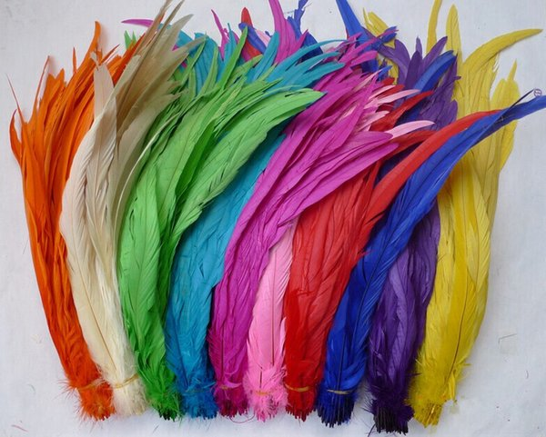New 100pcs/lot Rooster tail feathers DIY feather clothing accessories jewelry accessories wedding supplies performance 12-14inch/30-35cm
