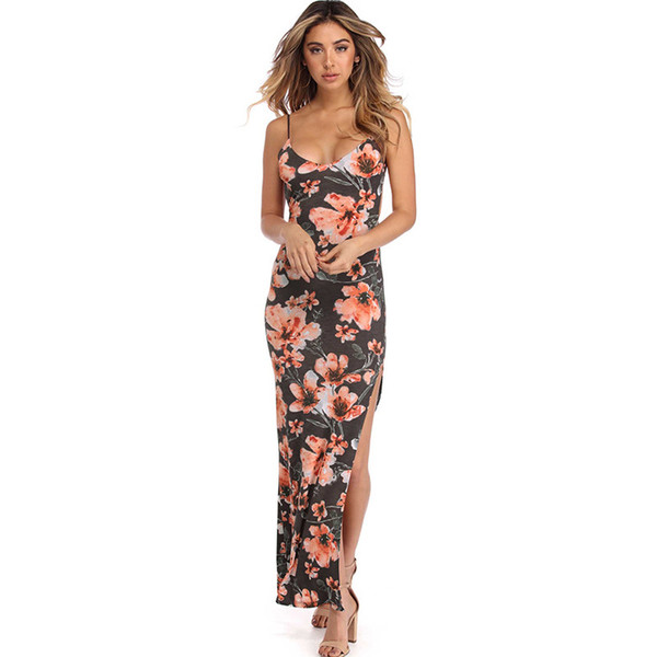 Lady sexy backless floral prints slip dress women criss-cross scoop neck flower pattern high split tight fit long dress