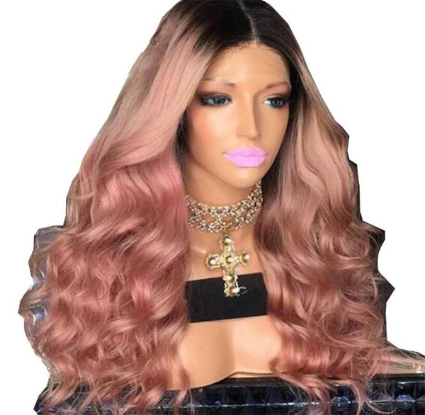 Ombre Two Tone T1B pink wavy Lace Human Hair Wigs Brazilian Virgin Hair 130 Density Bleached Knots Lace Front Wigs