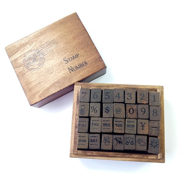 28 Pcs/set Rubber Number Weather Week Wood Clear Stamp Set For Dairy Screapbook Decor Antique Wooden nice Gift School/Office