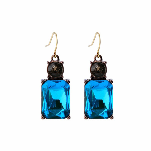 JOOLIM Jewelry Wholesale 3 Colors Square Crystal Drop Earring Casual Earring Free Shipping