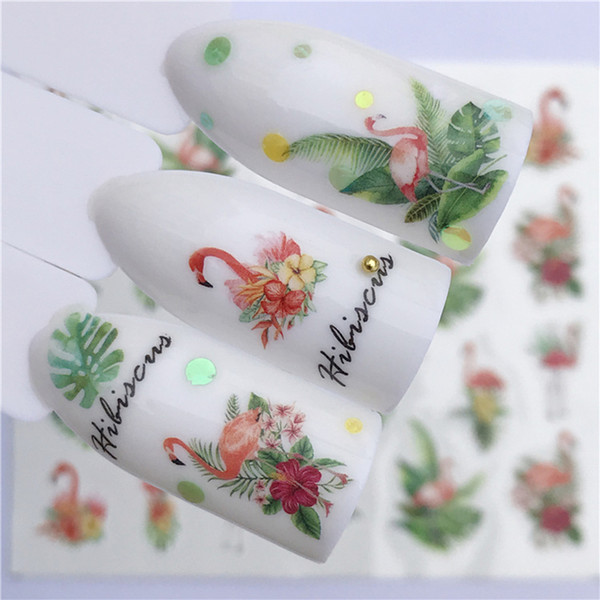 Mtssii 1 sheet Nail Sticker Animal Flamingo Deer Whale flamingos Butterfly Nail Art Water Transfer Slider Foils Decorations