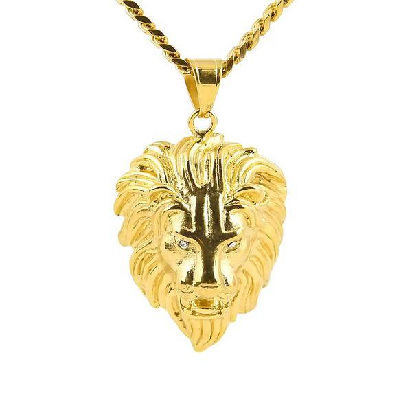 Pendenti testa di leoneCollane Gioielli hip-hop Catene in oro per uomo Gioielli in acciaio inossidabile Collana di gioielli in catena a maglia con catena a maglia
