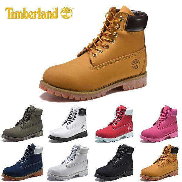 Original Timberland mens women winter boots chestnut black white red blue Grey green womens men designer boot size 5.5-11 fast shipping