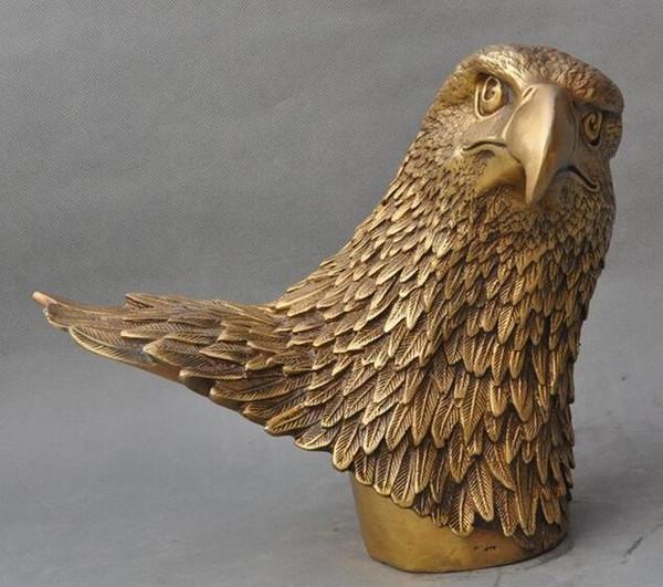 Chino Feng shui Latón éxito Hawk King Eagle Jove Animal Bird Head busto Estatua