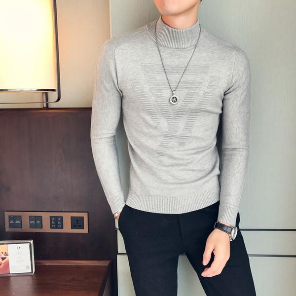 Compre Invierno Cálido Suéter De Los Hombres De La Moda 2018 Otoño ...