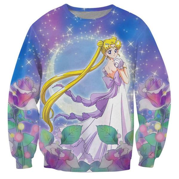 New Fashion Sailor Moon Images 3d Print Sweats Fashion Clothing Women Men Sweatshirt Casual Pullovers K175