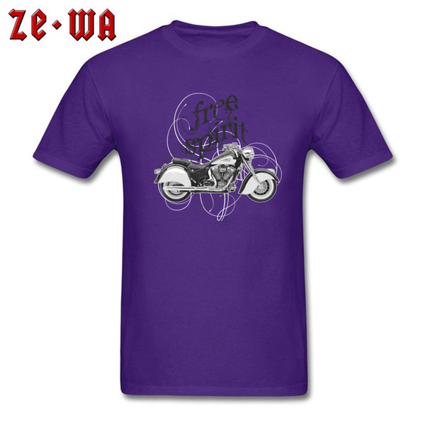 Special Men T-shirt Free Spirit Tshirt Printed T Shirts Funky Purple Clothes Moto Biker Lover Tops Cafe Racer Tees Cotton