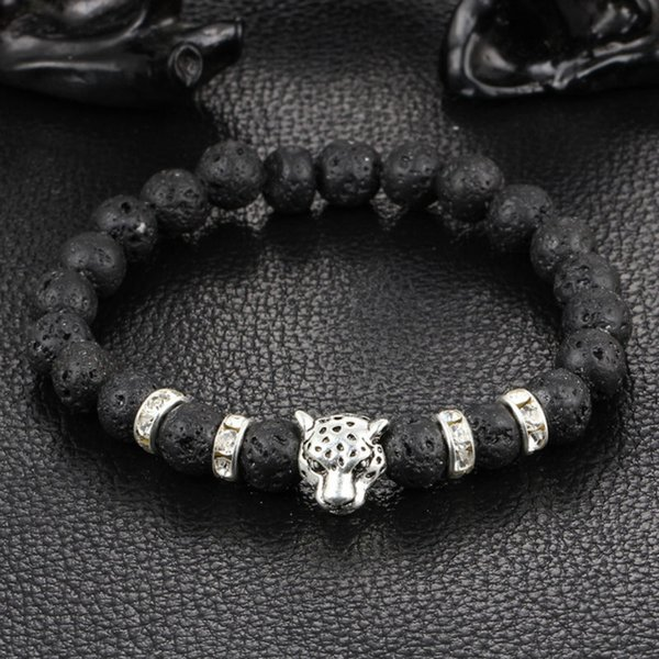 New Antique Gold Silver Plated Buddha Leopard Head Bracelet Lava Natural Stone Beaded Bracelets For Men Women Pulseras Hombre
