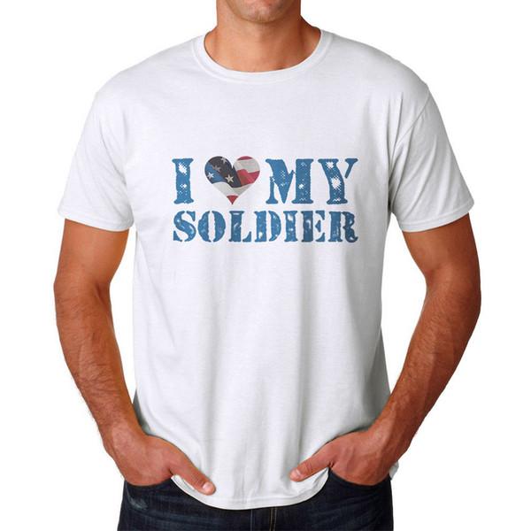 Eu amo o t-shirt branco dos meus homens do soldado Tamanhos NOVOS S-2XL