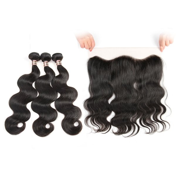 top popular Ear to Ear Lace Frontal Closure With 3 Bundles Brazilian Virgin Hair Weaves Indian Human Hair Closures body wave 2019