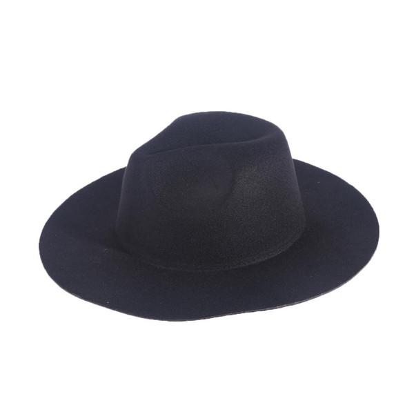 Unisex Retro Woolen Hat Jazz Hat Sunhat Bowler Caps with Floppy Brim (Black) 0cfbd51f8678