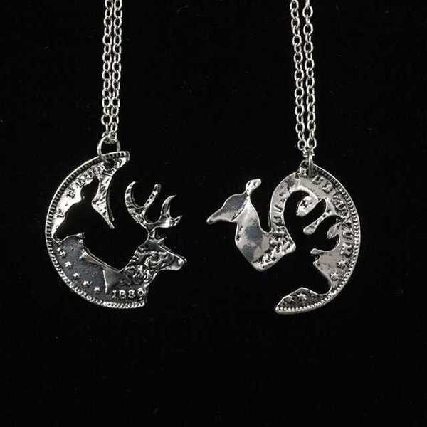 Couples Necklaces Camel Elk alloy Deer Pendent Necklace 2pcs\ set Animal Hunting Jewelry Best Friend Necklace