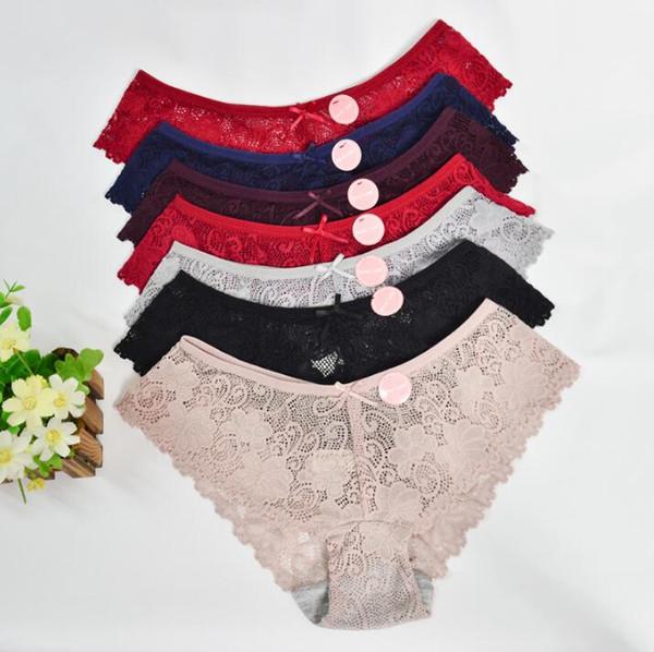 top popular Sexy Lace Panties Women Fashion Cozy Lingerie Tempting Pretty Briefs High Quality Cotton Low Waist Cute Women Underwear 2020