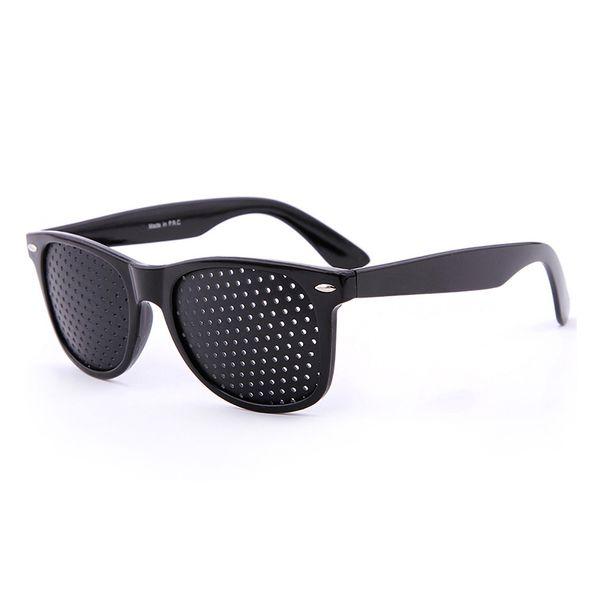 2018Hot Black Unisex Vision Care Pin Hole Eyeglasses Pinhole Glasses Eye Exercise Eyesight Improve Plastic Natural Healing Cheap