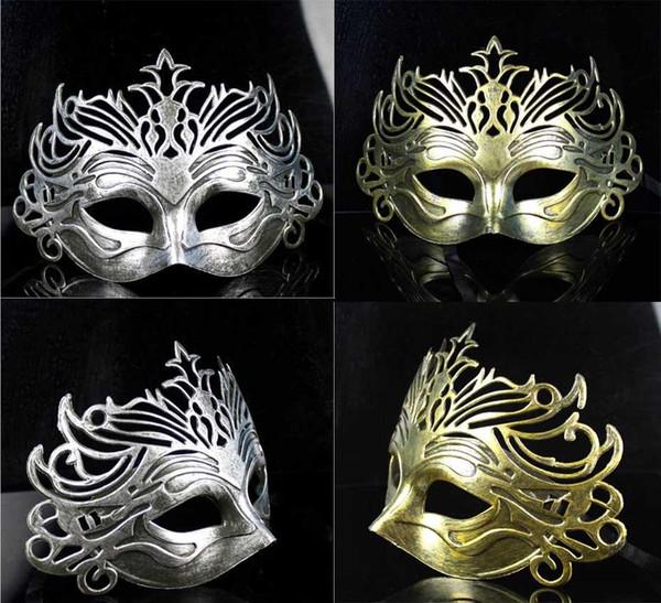 Hombres Máscara de corona Vintage antiguo gladiador romano Máscara facial Mascarada Disfraz de Halloween Traje veneciano Máscaras Plata de oro