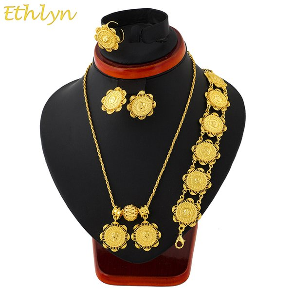ethlyn ethiopian coins jewelry set gold color necklace/earrings/ring/bracelets habesha africa wedding gifts s111