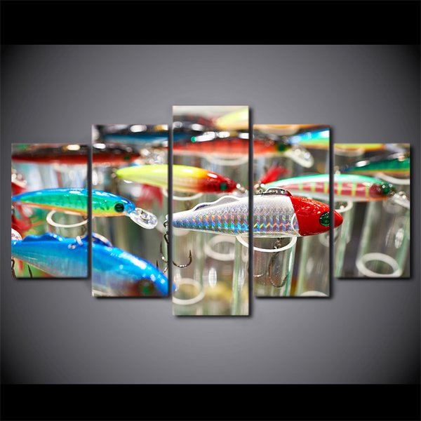 HD Printed 5 Piece Canvas Art Fishing Hooks Painting Modular Wall Pictures for Living Room Modern Free Shipping CU-2483C