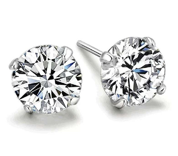 Chaude 925 argent sterling bijoux de mode charmes romantiques ethnique mariage vintage cristal 4 griffes boucles d'oreilles KKA1775