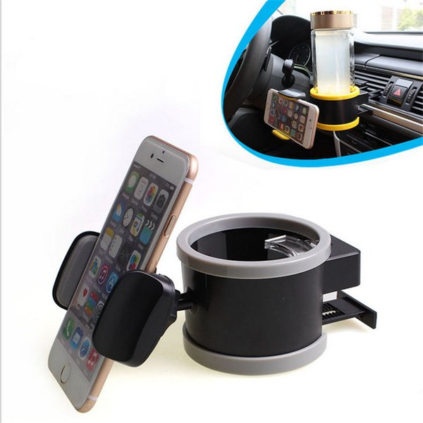 2 in 1 Multi-functional Car Drink Holder Universal Automobile Car Cup Holders Auto 360 Degree Rotating Phone Holder