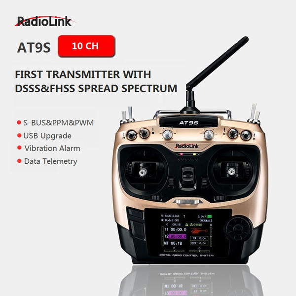 Radiolink originale AT9S R9DS Radio Remote Control System Ricevitore DSSS FHSS 2.4G 10CH Transmitter per RC Helicopter / RC BOAT