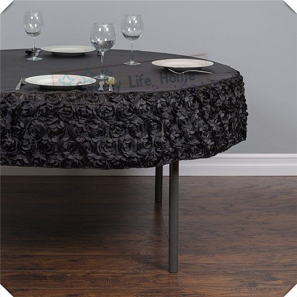 Free shipping Cheap 3D Black Satin Rosette table cloths with Black spandex table cover 57inch Round tablecloth