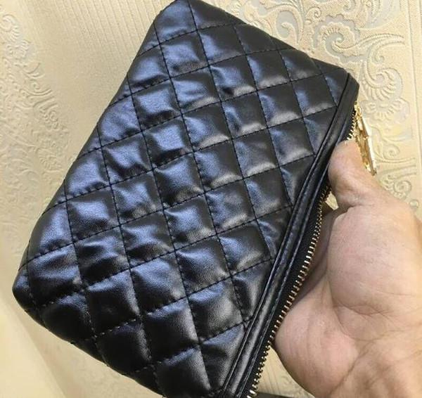2018 Мода макияж сумка известный логотип стеганые золото черный цвет с коробкой косметический чехол роскошный макияж организатор сумка клатч