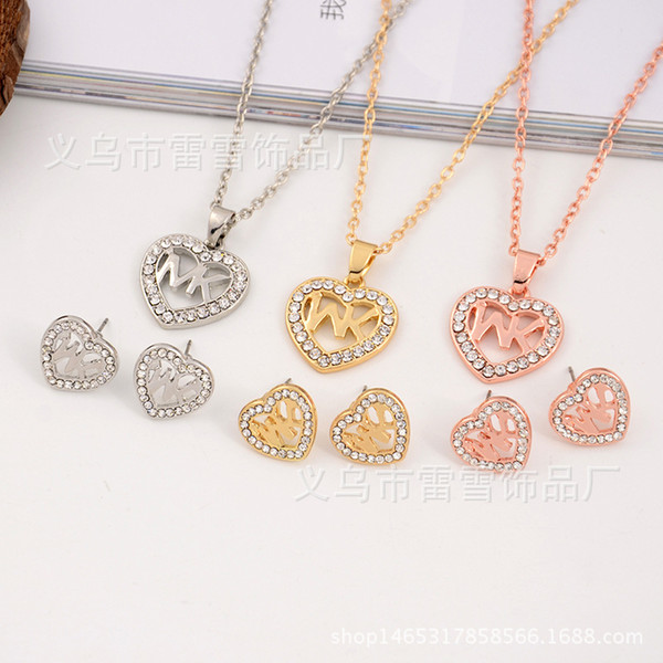 best selling 2018 Europe and the United States big gold M letter Heart shape diamond necklace pendant earrings jewelry two pieces jewelry set polishing