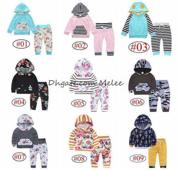 best selling INS Xmas Baby Boys Kids Hoodies tops & leopard pants 2pc set floral striped arrow prints cotton set 0-2years 40style choose free ship