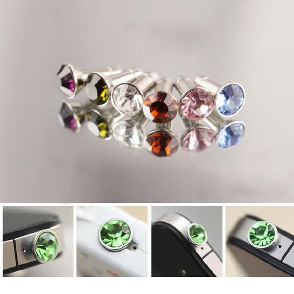 Universal 3.5mm Crystal Diamond Anti Dust Plug Dustproof Earphone Jack For Iphone 5 6s 6s plus Smartphone Free Shipping