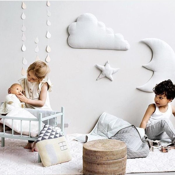 Hanging Toys For Children Baby Moon Stars Clouds Stuffed Plush Toys For Kids Baby House Nordic Style Decoration Room Ornament