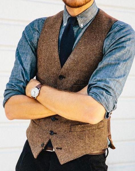 2019 Brown Rustic Groom Vests For Farm Country Wedding Wool Herringbone Tweed Suit Vest Slim Fit Tailor Made Groomsmen Attire
