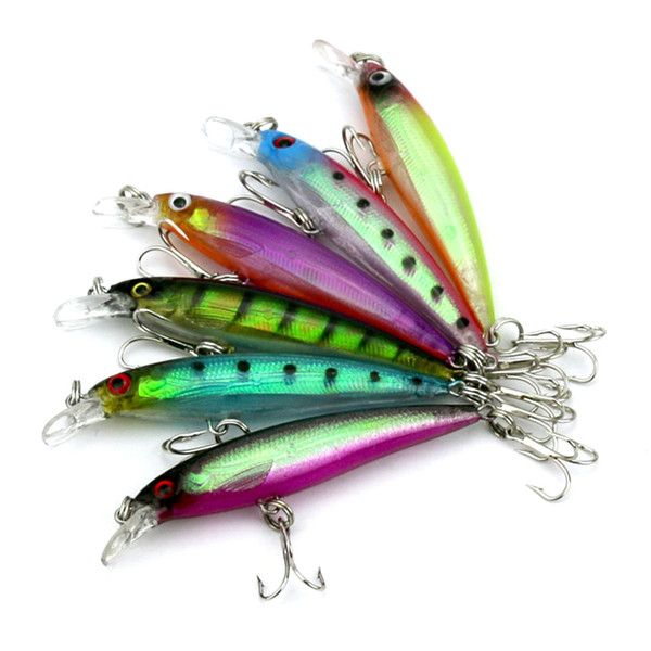New Arrival 6 colors 8CM/6G Transparent laser Minnow fishing lures,fishing hard bait,60pcs/lot,Free shipping