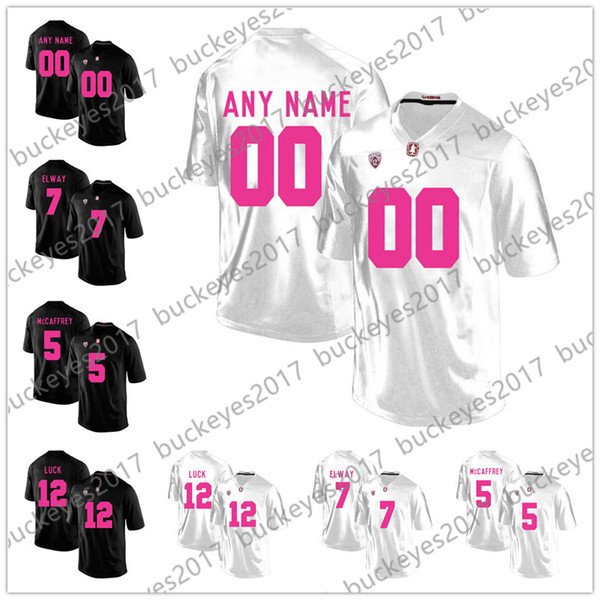 Custom Stanford Cardinal 2018 Mother Days Pink Jerseys NCAA College Football White Black Stitched Any Name Any Number McCaffrey Luck S-3XL