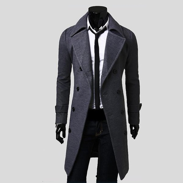 2018 Fall Men's Trench Coat , High Quality Jacket Father's Day Gift , Fashion Men's Slim Double-breasted Long Wool Coat Gray
