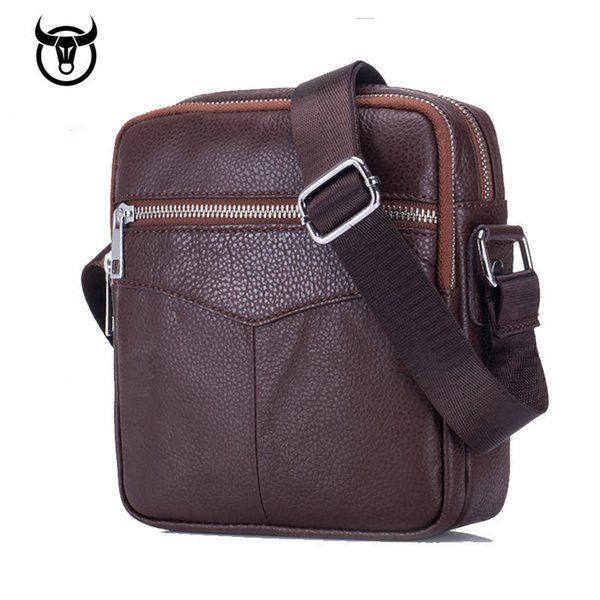 New Genuine Leather men's Messenger Bags fashion Cow Leather Men Business Crossbody Bags double zipper Shoulder Bag for male