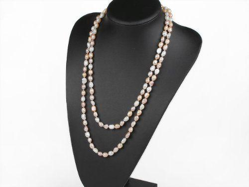 Hand knotted natural baroque pink white purple freshwater pearl 120cm sweater chain long necklace fashion jewelry