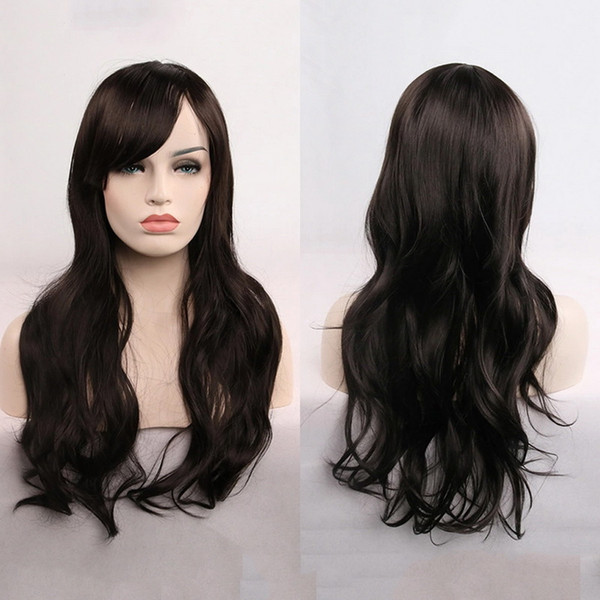 Long Curly Cosplay Wig With Front Bang Hair For Any Skin Color High Temperature Silk Wig Headgear