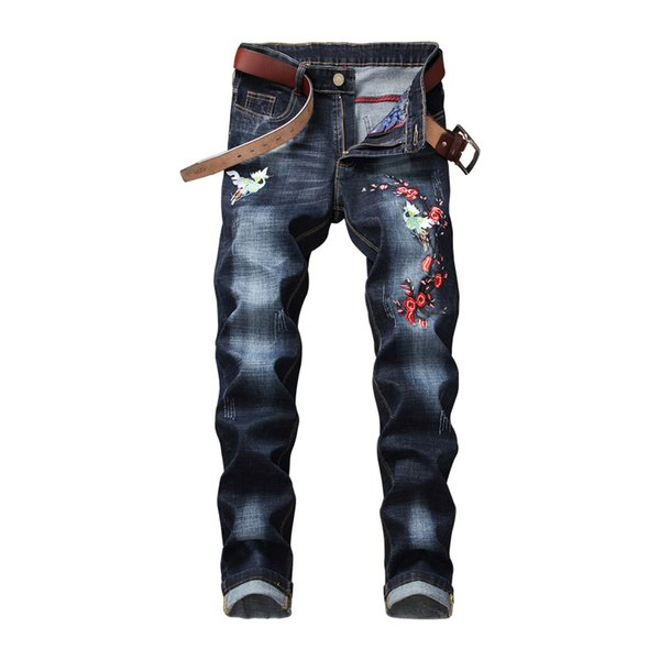 Spring and Autumn new men's style Korean body trim jeans youth fashion embroidery trousers pants men's tide
