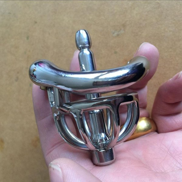 2019 New Male Chastity Devices Metal Mens Small Cock Cage Stainless Steel Penis Restraints Locking Cock Ring BDSM Bondage