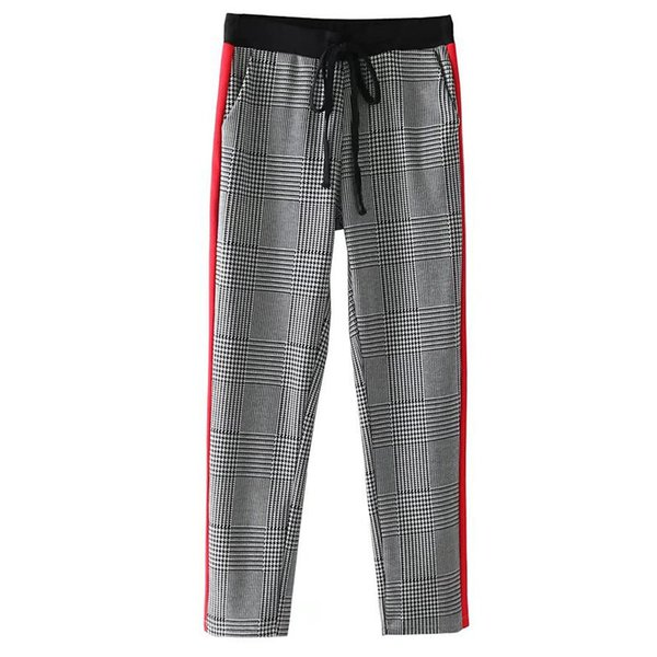 Women Houndstooth Suit Pants For Female Trousers Side Striped Elastic Waist Elegant Fashion Ladies Work Business Pants